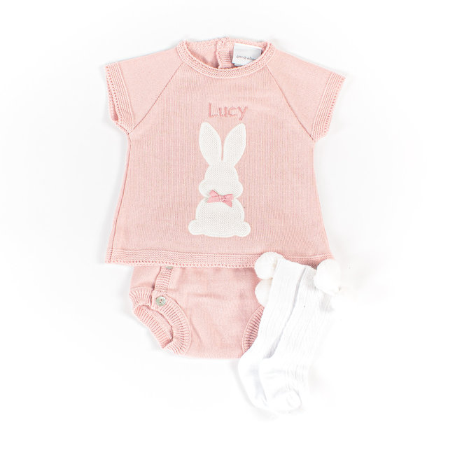 Personalised Baby Girl Dusty Pink Bunny Top & Pants