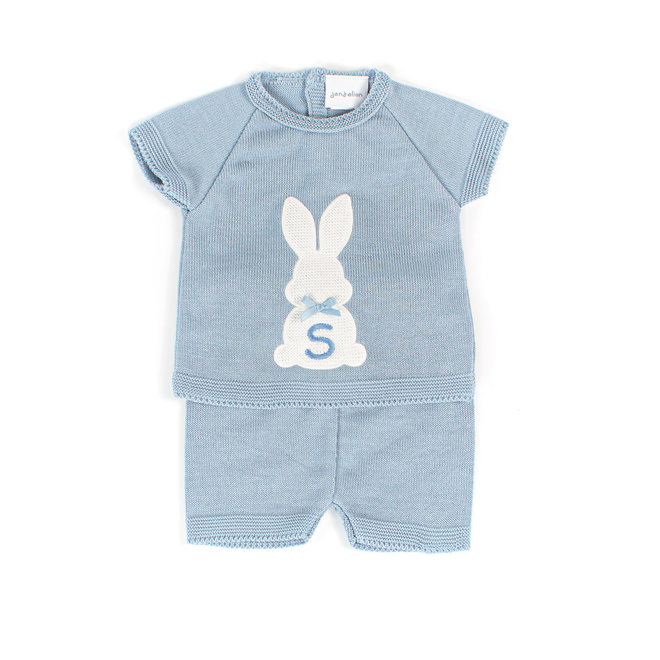 Personalised Baby Boy Dusty Blue Bunny Top & Shorts