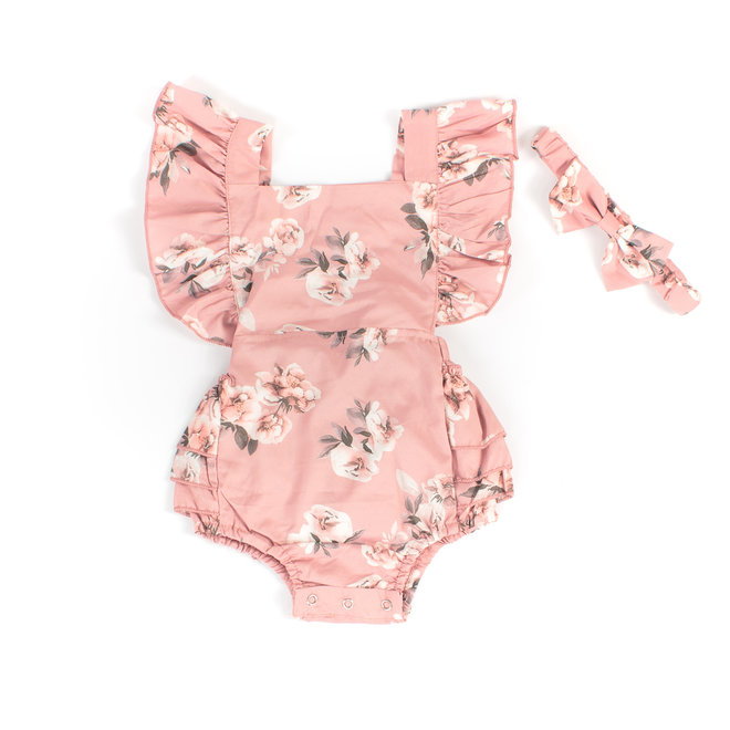 Baby Girl Floral Romper & Headband Set