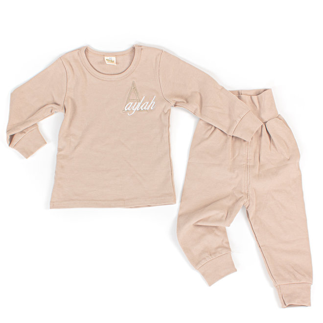 Personalised Baby & Kids Mink Colour Loungewear Set