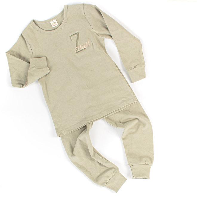 Personalised Baby & Kids Green Colour Loungewear Set