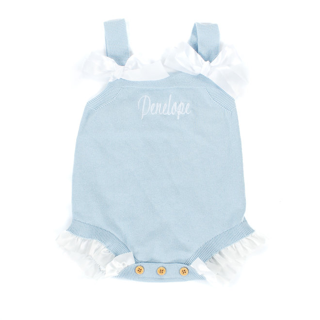 Personalised Baby Girl Blue Romper With Frills