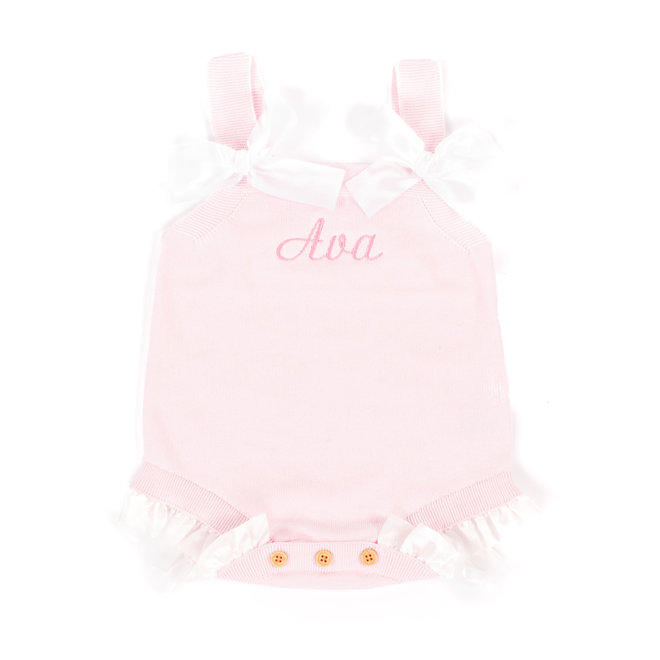 Personalised Baby Girl Pink Romper With Frills