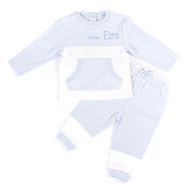 Personalised Baby Boys Blue/White Tracksuit