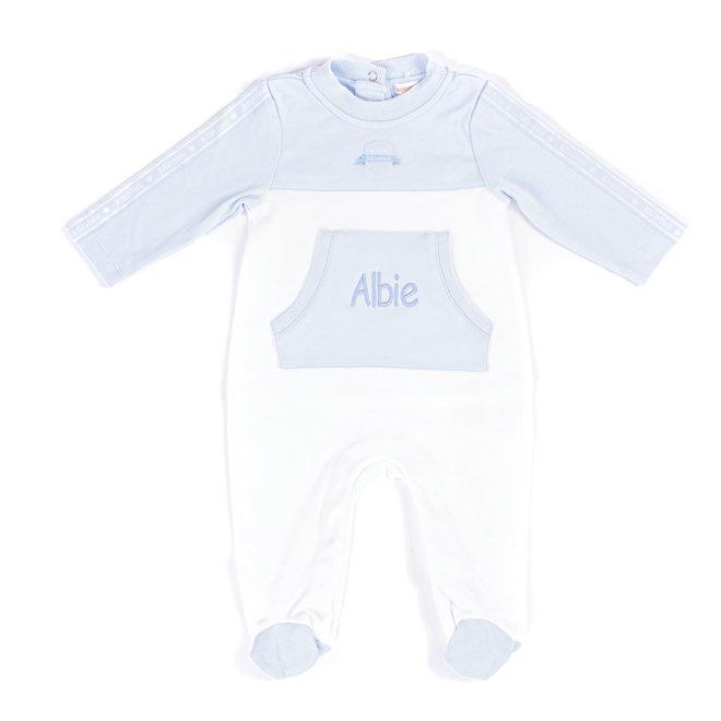 Personalised Baby Boys Blue/White Loungewear Babygrow