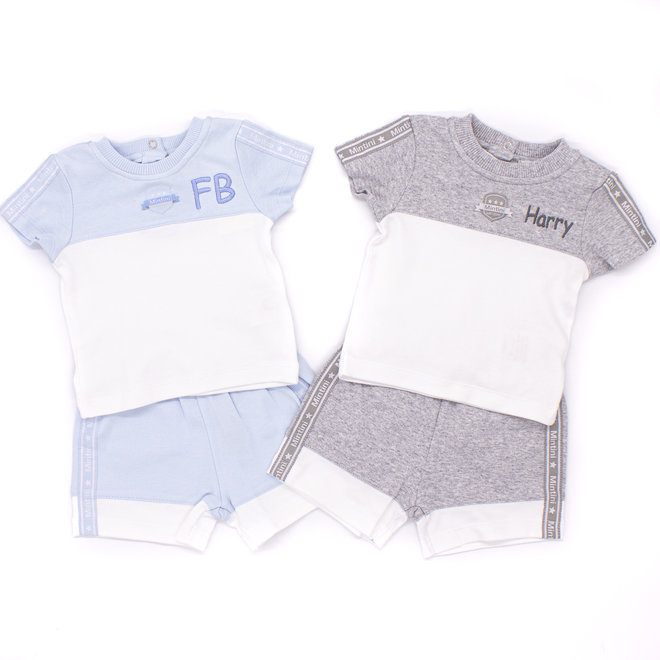Personalised Baby Boys Grey/White Top & Shorts Set