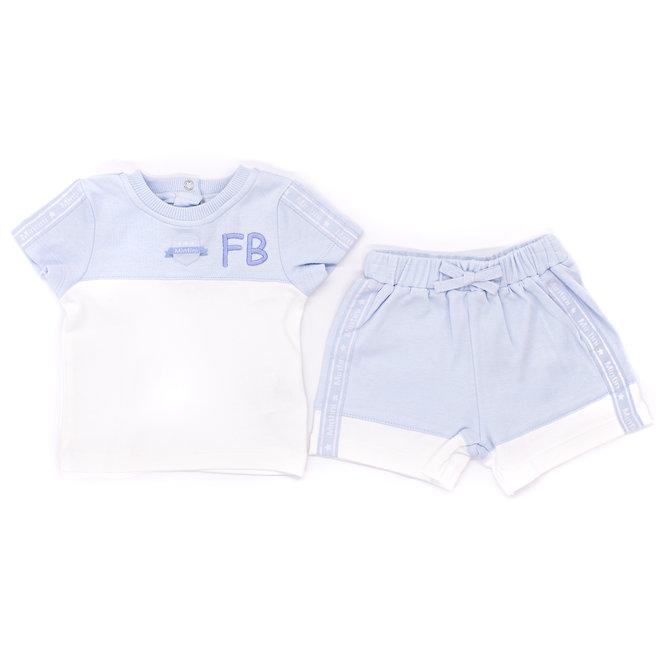 Personalised Baby Boys Blue/White Top & Shorts Set