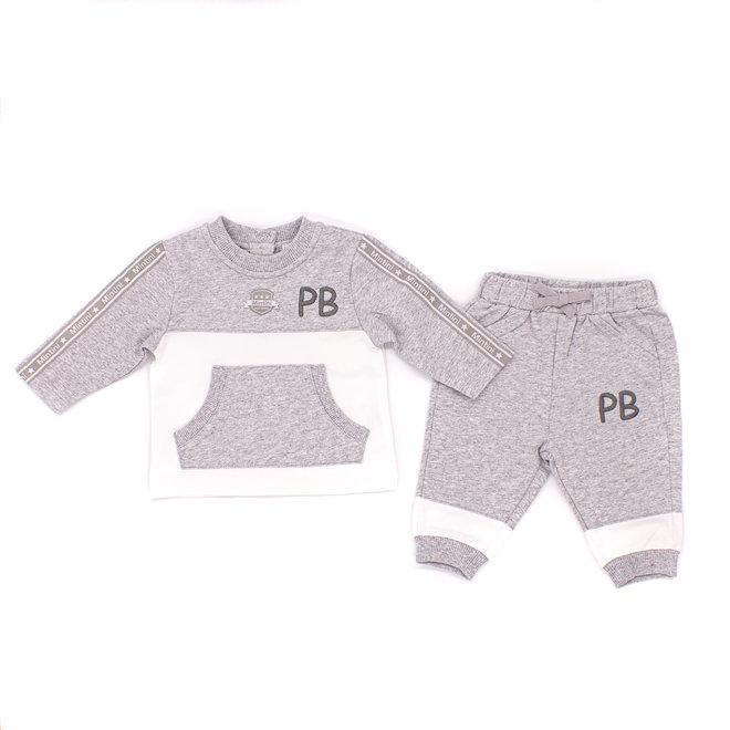 Personalised Baby Boys Grey/White Tracksuit