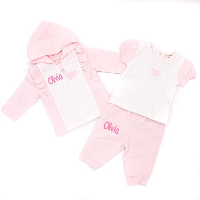 Personalised Baby Girl Pink/White Tracksuit