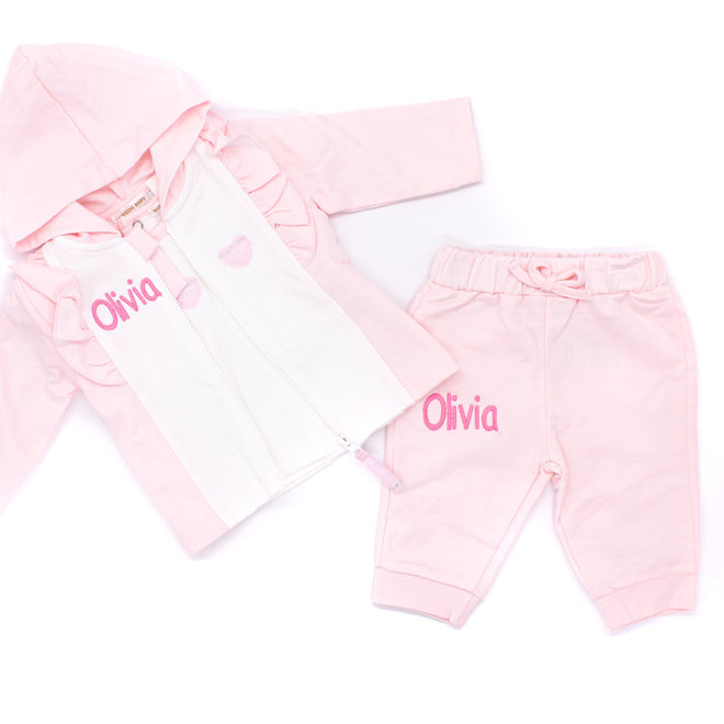Personalised Baby Girl Pink/White 3 Piece Tracksuit