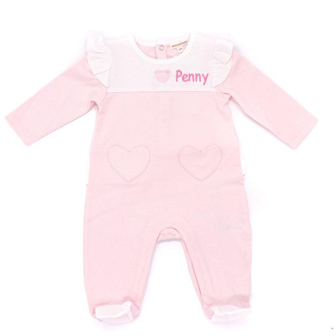 Personalised Pink/White Loungewear Babygrow
