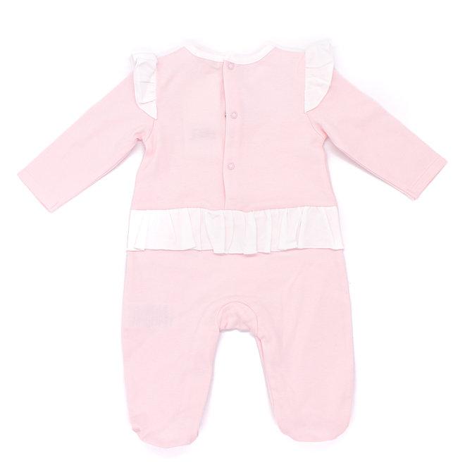 Personalised Baby Girls Pink/White Loungewear Babygrow