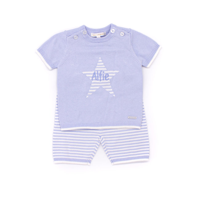 Personalised Blue/White Knitted Top & Shorts Set