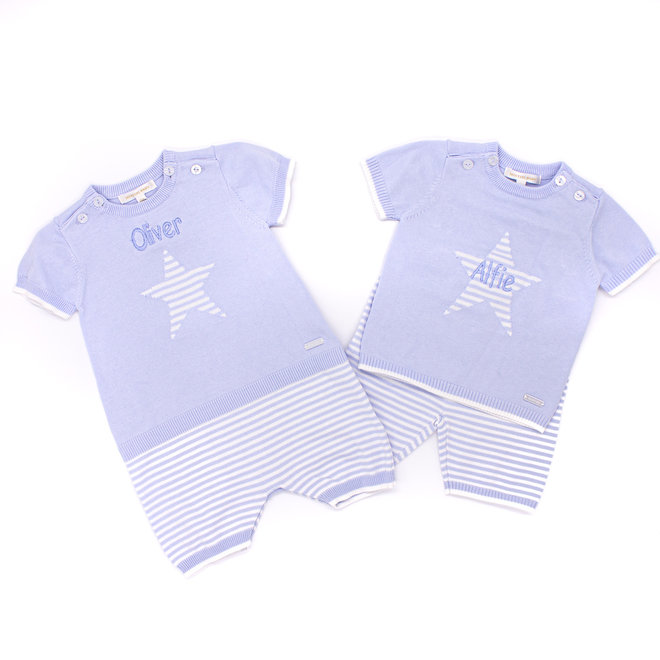 Personalised Baby Boys Blue/White Stripe Knitted Top & Shorts Set