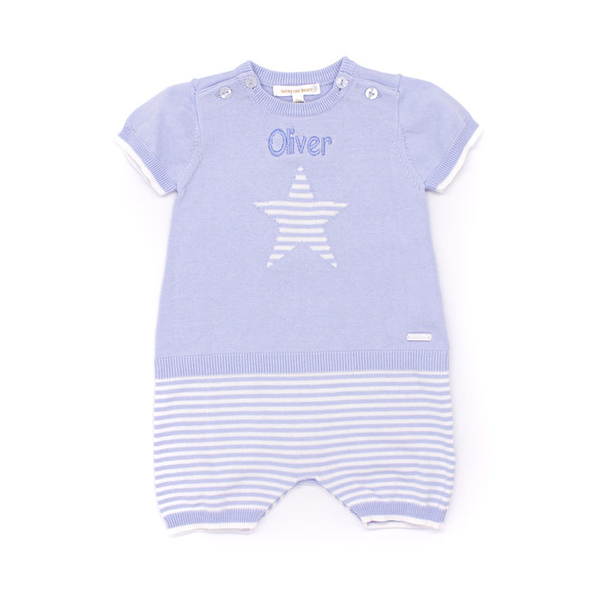 Personalised Baby Boys Blue/White Stripe Knitted Romper