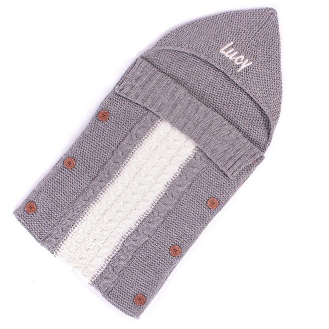 Personalised Grey Knitted Sleeping Bag Blanket