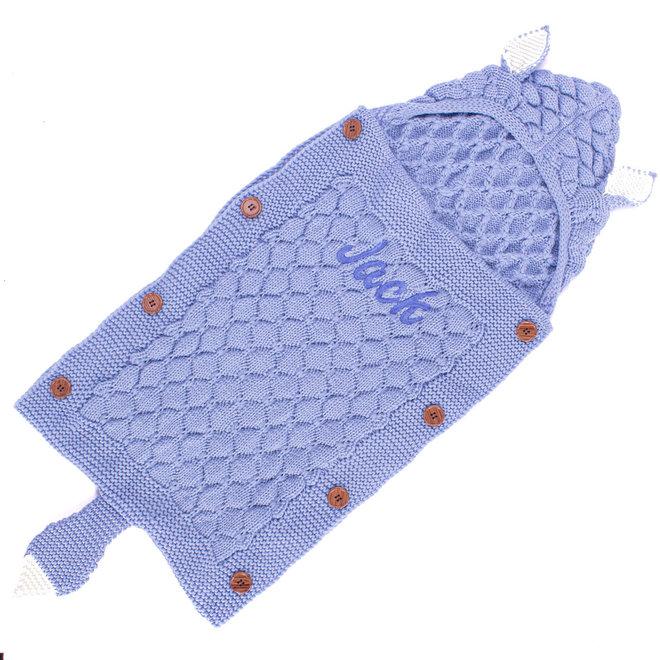 Personalised Boys Dusty Blue Knitted Sleeping Bag Blanket