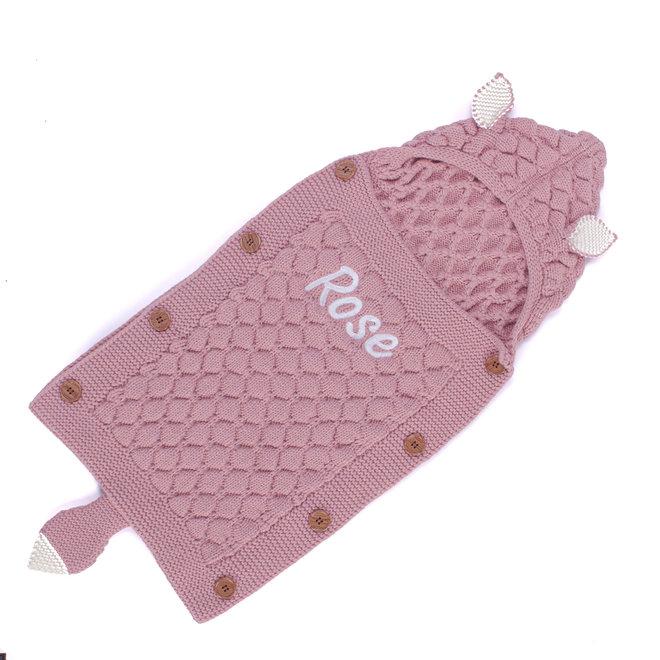 Personalised Girls Dusty Pink Knitted Sleeping Bag Blanket