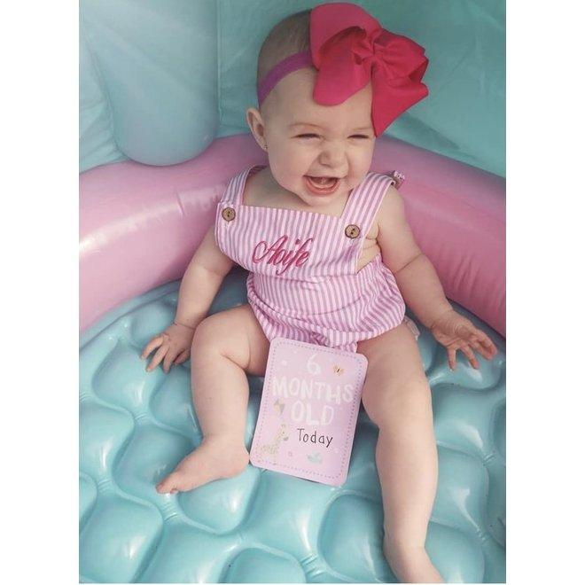 Baby Girls Candy Stripe Pink Romper
