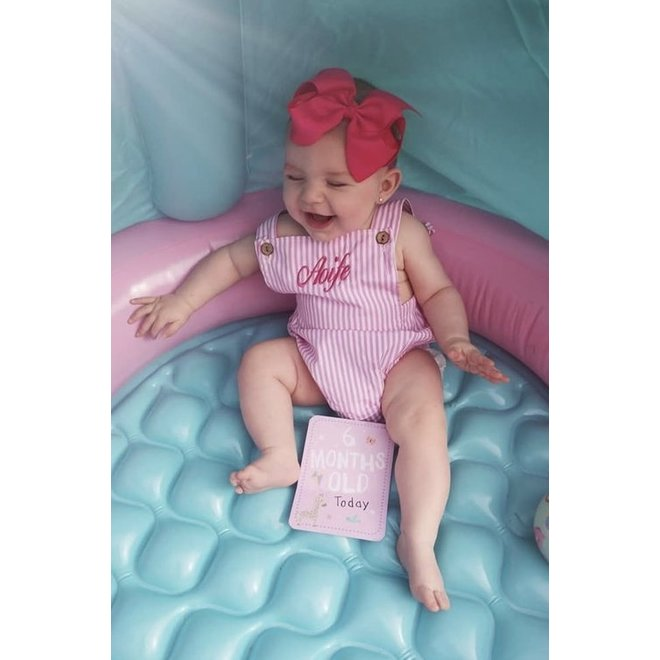 Personalised Baby Girls Candy Stripe Pink Romper