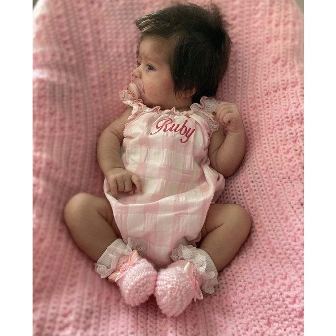 Personalised Pink Gingham Baby Girl Romper
