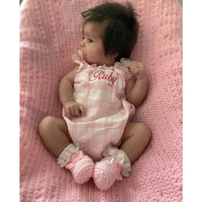 Pink Gingham Baby Girl Romper