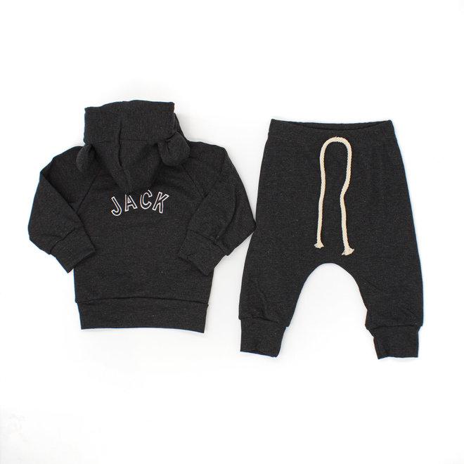Personalised Dark Grey Baby & Kids Loungewear Set With Ears