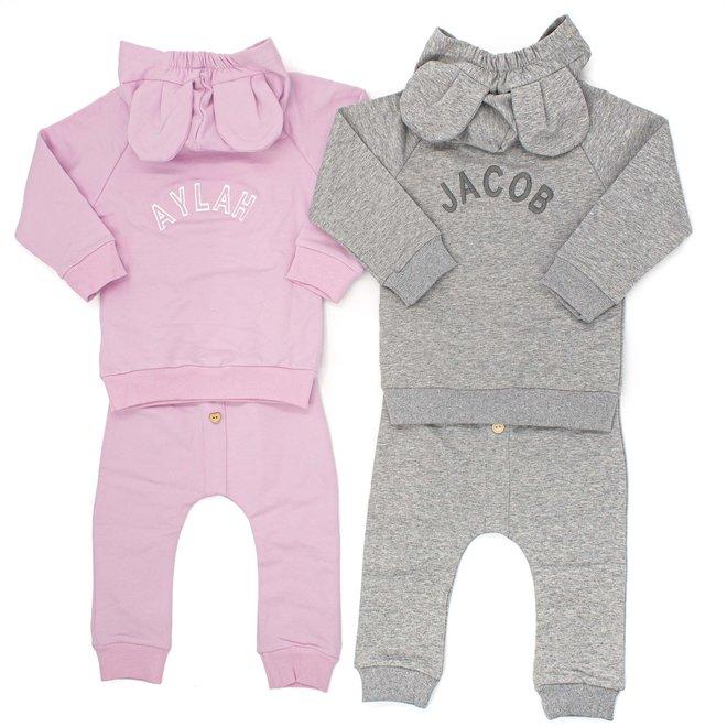 Personalised Grey Baby & Kids Loungewear Set With Ears