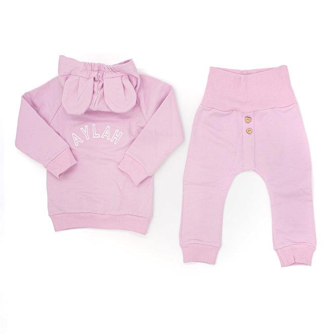 Personalised Girls Pink Baby & Kids Loungewear Set With Ears