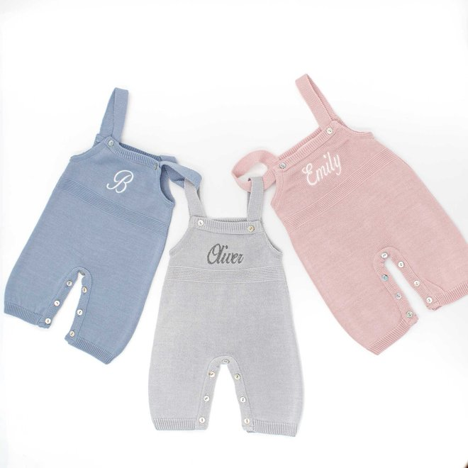 Personalised Baby Boy & Girl Knitted Dungarees