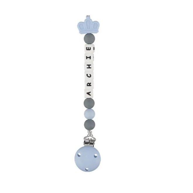 Boys Personalised Royal Dummy Clip – Blue & Grey Crown