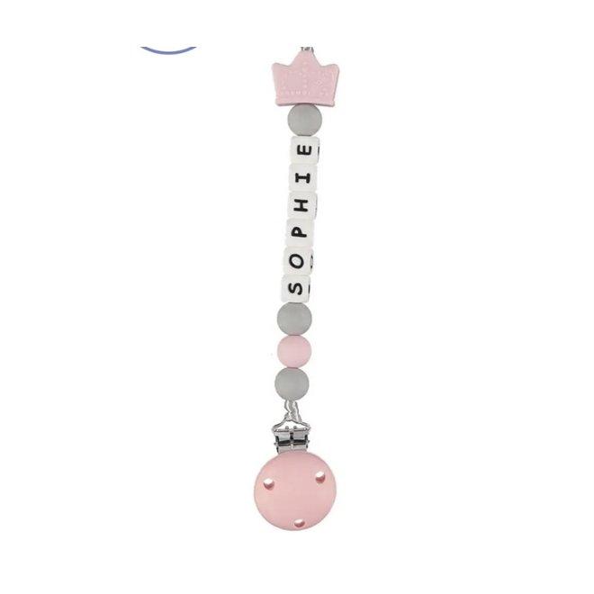 Girls Personalised Royal Dummy Clip – Pink & Grey Tiara
