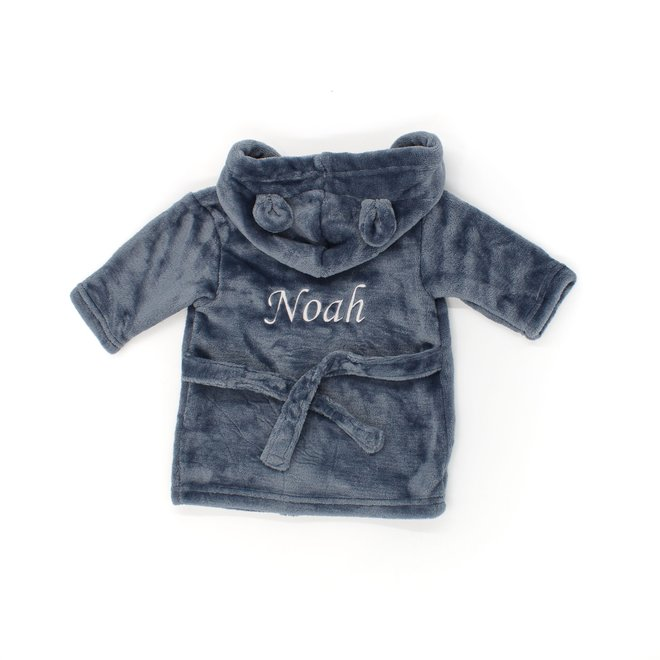 Personalised Baby Steel Blue Robe with Bunny Ears