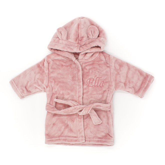 Peronsalised Dusty Pink Baby Girl Dressing Gown - Bunny Ears