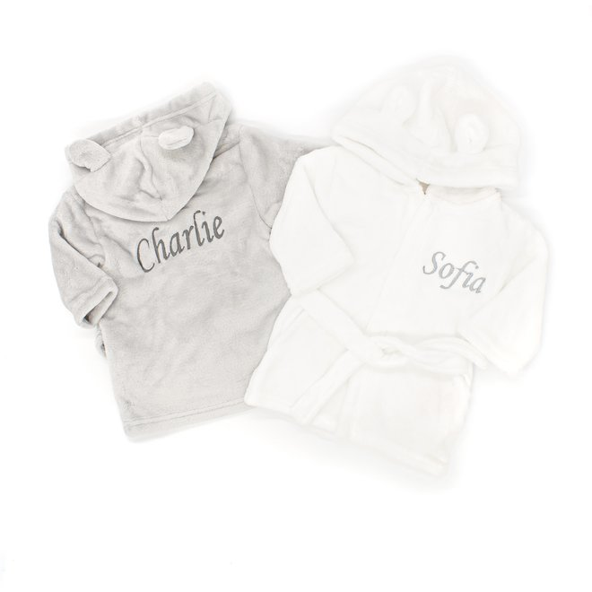 Peronsalised Grey Or White Baby Dressing Gown - Bunny Ears
