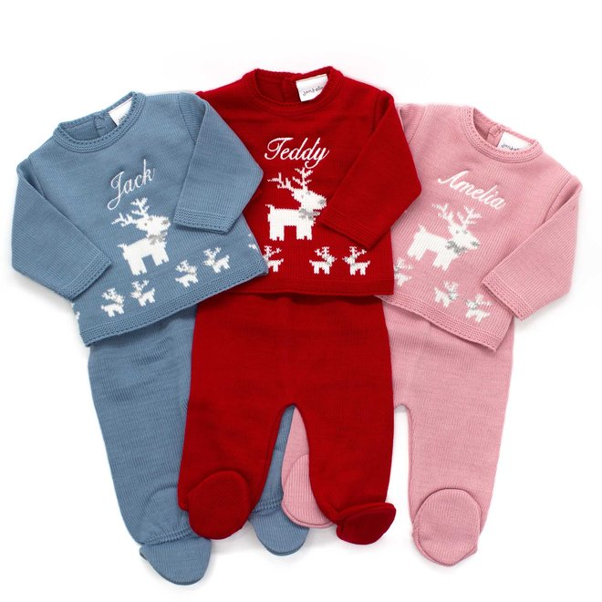 Personalised Christmas Knitted Jumper & Trousers With Reindeer Design