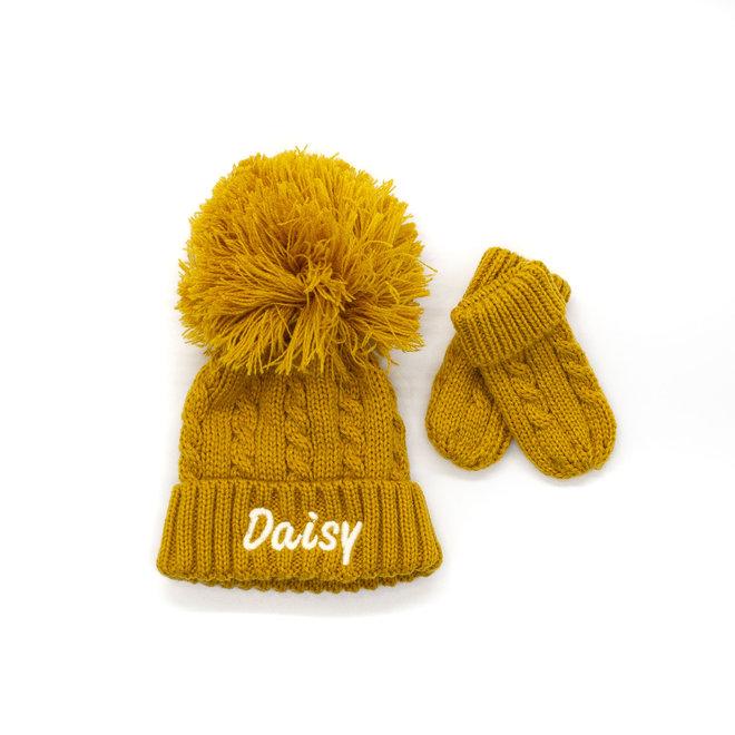 Mustard Knitted Pom Hat