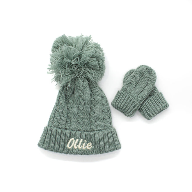 Sage Green Knitted Pom Hat