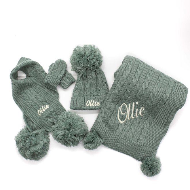 Personalised Cable Knit Sage Green Pom Hat