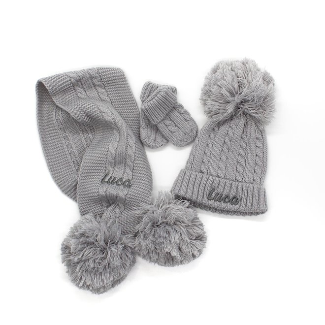 Personalised Cable Knit Grey Pom Hat