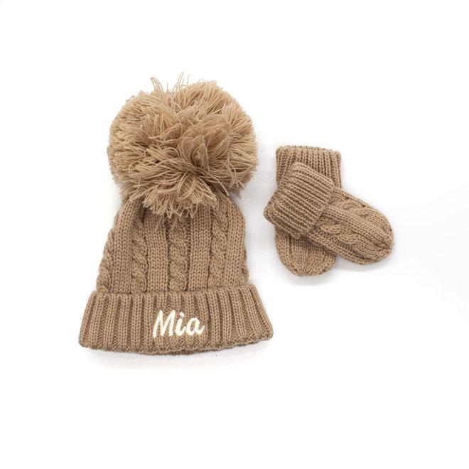 Beige Knitted Pom Hat