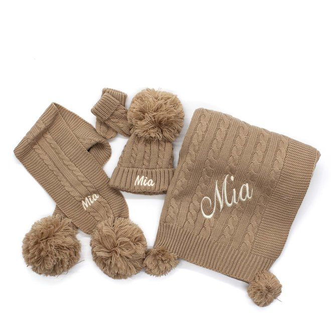 Personalised Cable Knit Beige Pom Hat