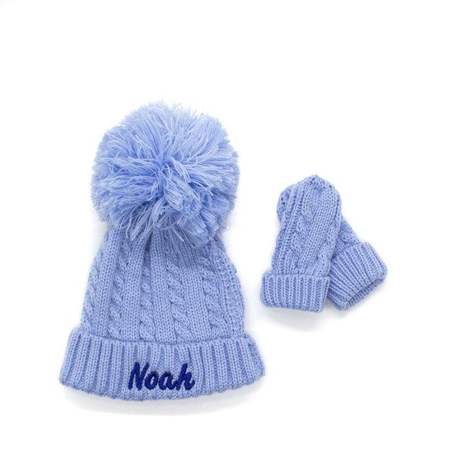 Light Blue Knitted Pom Hat