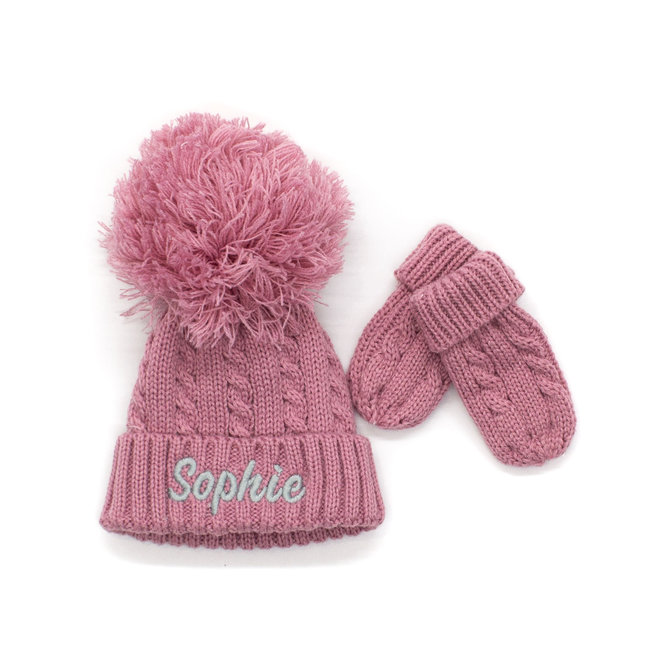 Dusty Pink Knitted Pom Hat