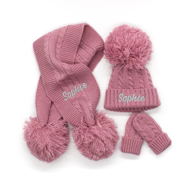 Personalised Cable Knit Dusty Pink Pom Hat