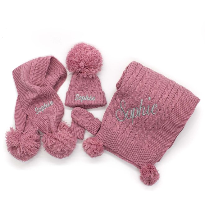 Personalised Cable Knit Dusty Pink Blanket With Poms