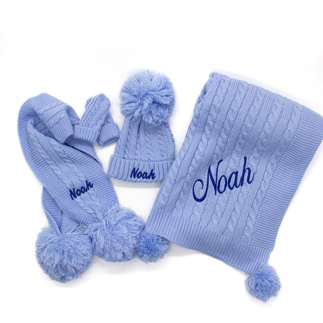 Personalised Cable Knit Blue Blanket With Poms