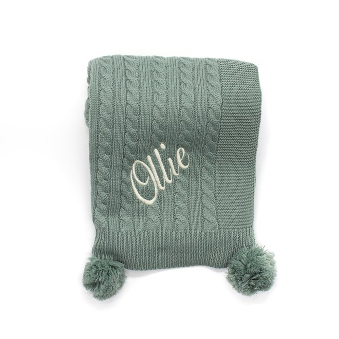 Personalised Cable Knit Sage Green Blanket With Poms