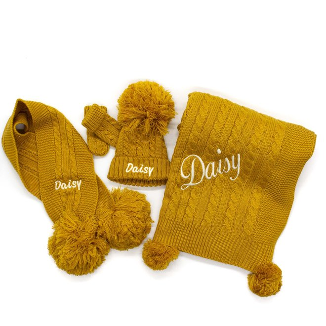Personalised Cable Knit Mustard Blanket With Poms