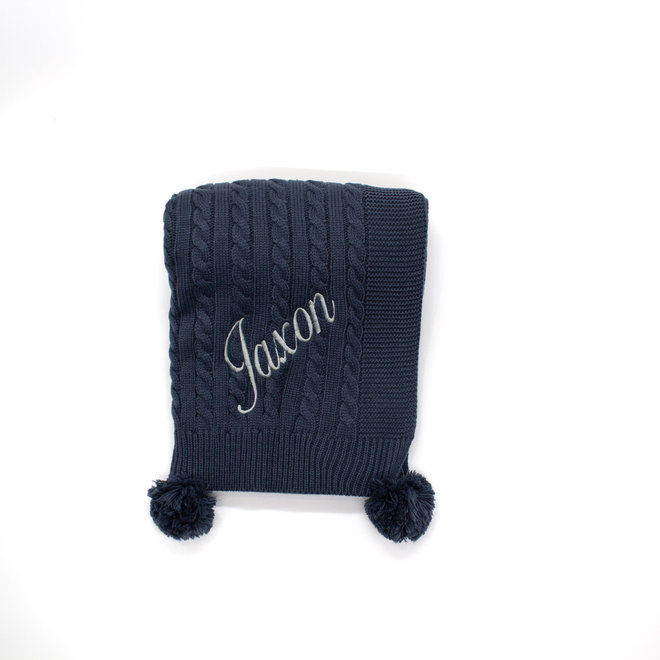 Personalised Cable Knit Steel Blue Blanket With Poms